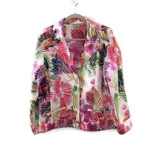 CHICO'S colorful Tropical Palm Leaves print blazer